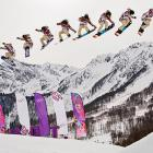 American snowboarder Jamie Anderson's jump during the ladies' slopestyle finals is shown in multiple exposures. Anderson won a gold medal in the competition.