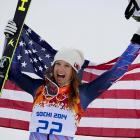 Julia Mancuso of the United States celebrates her bronze medal in the super combined slalom. The medal gave Mancuso more total Olympic Alpine medals than any other American woman.