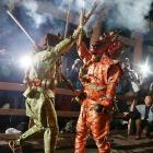 Dressed in traditional costume as devils -- the one on the right looks uncannily like Martin Brodeur -- do a little dance during the annual festival at Masuiyama Zuiganji Temple in Himeji, Japan. The Oni Oi ceremony (not to be confused with the Oy Vey fest later in the year), takes place at the Buddhist temple in the hope of bringing peace and fruitful harvests.