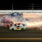 Ryan Newman (31), Justin Allgaier (51), Brian Scott, (33), Parker Kligerman (30), Terry Labonte (32), Cole Whitt (26) and Landon Cassill (40) send sparks flying in their late-race crash.