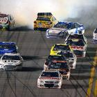 As Dale Earnhardt Jr. was heading to the finish line, a slew of cars were wrecking behind him.