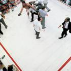Realizing that Liston had quit and that he was the winner and the new champion, Clay lept off his stool and into a wild celebration, as his handlers thronged him and a stunned crowd reacted.