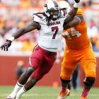 Clowney gets past a would-be Tennessee blocker.