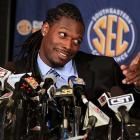 Clowney is interviewed during SEC football media days.