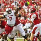 Clowney attempts to tip a pass attempt by Arkansas quarterback Brandon Allen.