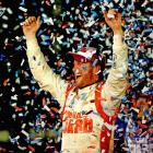 Dale Earnhardt Jr. celebrates his Daytona 500 victory on Sunday. The race -- Earnhardt Jr.'s second-ever Daytona 500 title -- was delayed over six hours due to inclement weather conditions.