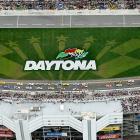 Competitors race around Daytona International Speedway during Sunday's Daytona 500 in this photograph taken from the Goodyear Blimp.