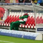"""Firtzle,"" the mascot of German soccer club VfB Stuttgart, slumps in its chair after Stuttgart fell 2-1 to Bundesliga competitor Hertha BSC Berlin on Saturday."