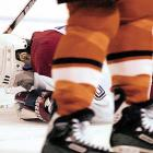 "The Canadiens forward's larynx was fractured and his windpipe crushed when he was hit in the throat while blocking a hard one-timer off the stick of Philadelphia Flyers defenseman Chris Therrien in a January 29, 2000 game in Montreal. Therien later told Grantland's Sean McIndoe, ""That's as hard as I can shoot the puck. And then I heard the gasping of the air. I'm saying somebody hurry, this guy's in really, really bad shape. And that gasp of air, that hoarse gasp of him not being able to breathe, I knew there was something very, very serious, and they had to do something very quickly."" McCleary was able to get up and make it back to the bench, but he collapsed in the tunnel and needed an emergency tracheotomy at a local hospital. Several operations and months of therapy followed before he could speak again, and his playing career was ended by the injury."