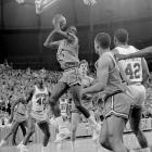 The Cavaliers clawed through the Eastern region, winning three of their four games by two points or less. Against No. 2 seed Arkansas, co-captain Rick Carlisle hit a 10-foot baseline jumper with four seconds remaining in OT to seal a 53-51 win. Olden Polynice (24) and Virginia took Hakeem Olajuwon and Houston to OT in the national semifinal before falling 49-47.
