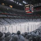 A crowd of 17,174 was on hand to see the Ducks fall 3-2. The fans look frosted, as if they were attending one of the NHL's frigid outdoor games. <bold>NHL Outdoor Games gallery</bold>