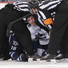 In the NHL's other War Room -- the one on the ice -- officials took a closer look at the Canucks' Alex Burrows as he emerged from his burrow after a scrap with the Jets' Bryan Little at the MTS Centre in Winnipeg.