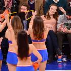 The actress/model and her thespian/comic fiancee treated their bun in the oven to a little NBA basketball at Madison Square Garden. Newly anointed team president Phil Jackson (not pictured) was also on hand to be hailed by the crowd as the suddenly inspired Knicks dispatched the Indiana Pacers, 92-86.