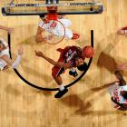 Josh Huestis (40) had seven points, three blocks and four rebounds for Stanford, which knocked off seventh-seeded New Mexico.