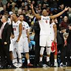 Skylar Spencer celebrates San Diego State's victory, which pushed them into a Sweet 16 matchup against the winner of Sunday's Arizona-Gonzaga game.
