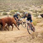 Eric Kleinhans (front) and Nico Bell (rear) had a beef with the course during stage one of the big mountain bike race in Robertson, South Africa.