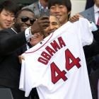 """President Barack Obama welcomed the Boston Red Sox to the White House to honor their 2013 World Series championship on Tuesday April 1, 2014. """"Big Papi"""" David Ortiz even took a selfie photo with the president and wasted no time tweeting it."""
