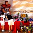 Fans sign a memorial for Tillman. More than a month after his death, the Pentagon disclosed that he had died as a result of friendly fire.