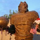 Fans adorned the Pat Tillman statue with American flags in honor of the 10-year anniversary of the 9/11 attacks.