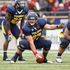 The legwork done for the 2014 draft before this past college football season got underway resulted in multiple Toledo coaches going out of their way to praise Zac Kerin's impact on the offense. There are some technique concerns here, especially against the run, and at only about 300 pounds, Kerin's size might be viewed as a detriment. He thrived at Toledo in spite of any shortcomings. His knack for playing whistle to whistle will serve him well in the NFL's eyes. Draft projection: Round 5-6