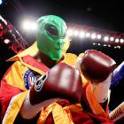 Here it is, proof and everything that the aliens have landed among us: This one took on Beibut Shumenov in an IBA Light Heavyweight Title bout in Washington, DC, and won a split lip decision in 12 rounds. For your safety, we present the secret stolen government training film on how to deal with an alien uprising.