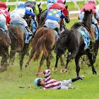 """Jockey Vlad """"The Inhaler"""" Duric got a snootful of turf after being shanked off Golfing in the home stretch of the Bert Bryant Handicap at Caulfield Racecourse in Melbourne. Duric hoofed his way off the course with a minor leg injury. Golfing, which went off at 5-to-1, finished at 4:30."""