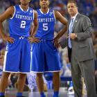 Guards Andrew (2) and Aaron Harrison announced Friday (April 25) that they would return to Kentucky for their sophomore seasons and play for John Calipari, instantly making the Wildcats a favorite for a preseason No. 1 ranking and to return to the national championship game they lost earlier in April. Aaron Harrison started all 40 games for Kentucky and averaged 13.7 points per game. Andrew Harrison started 39 games and averaged 10.9 points and 4.0 assists.