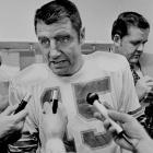 Morrall speaks with the media in 1972 at the Orange Bowl in Miami.