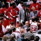 Ramsay talks to his team in the huddle at the Veterans Memorial Coliseum in Portland.