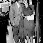 Lou  Gehrig gives his wife Eleanor a kiss as he arrives at Newark Airport on June 21, 1939 on his return from the Mayo Clinic where he underwent a physical examination.