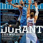 After winning the NBA's Most Valuable Player award for the first time in his career, Oklahoma City Thunder star Kevin Durant appears on the cover of this week's Sports Illustrated. In the Sports Illustrated cover story, Durant is profiled by SI's Chris Ballard, who examines the Thunder star's quest for the only missing piece of hardware in his trophy case: an NBA title.