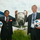 Klinsmann poses with the late Portuguese great Eusebio before the 2004 UEFA Champions League Final in Gelsenkirchen, Germany. A month later, he would be named coach of the German national team.