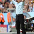 Klinsmann gestures against Costa Rica in the opening match at Munich's World Cup Stadium in 2006, a 4-2 win.