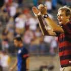 Klinsmann thanks U.S. supporters following a 1-0 win against Costa Rica during the CONCACAF Gold Cup in July 2013 in East Hartford, Conn.