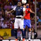 Jozy Altidore and Giancarlo Gonzalez of Costa Rica leap for a header. The U.S. took a tough 3-1 loss on Sept. 6, 2013, in San Jose, Costa Rica.