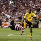 An acrobatic kick by Clint Dempsey over Jamaica's Arian Mariappa was one of the memorable plays in a 1-0 bounce-back victory in Columbus, Ohio, on Sept. 11, 2012.