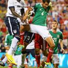 Eddie Johnson heads the ball past Diego Reyes of Mexico for the game-winning goal in the 49th-minute. Landon Donovan scored as well, as the U.S. won 2-0 (or as it has become customarily known: <italics>dos-a-cero</italics>) on Sept. 10, 2013, in Columbus, Ohio, clinching qualification for the 2014 World Cup later that night via Honduras' 2-2 draw with Panama. Johnson was recently left off Jurgen Klinsmann's World Cup roster.