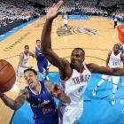 Serge Ibaka of the Oklahoma City Thunder contests a shot by Matt Barnes of the Los Angeles Clippers in Game 5 of a Western Conference semifinal. Ibaka is injured and will miss the Western Conference Finals.