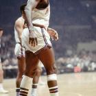 In Game 7 of the 1970 finals, injured Knicks center Willis Reed made a dramatic surprise entrance, scoring the first two baskets of the game in front of a packed Madison Square Garden crowd.