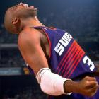 "Suns star Charles Barkley celebrates Phoenix's Game 5 win. Though ""Sir Charles"" averaged 27.3 points and 13 rebounds, it wasn't enough to lift the Suns past Chicago. Years later, he would admit the series made him realize Jordan was the superior player."