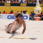 April Ross digs a ball in the women's final.
