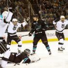 After losing a shootout to the Pacific- and conference-leading Ducks in the regular season finale, the Kings finished at 46-28-8 and entered the playoffs against the strong and skilled Sharks, who placed second in the division, 11 points ahead of them. Los Angeles quickly found itself in a 0-3 series hole, outscored 17-8 by San Jose's blistering attack. But the series turned in Game 4 when the Kings' offense woke up as the Sharks battled injuries and their own postseason demons. In just the fourth comeback from a 0-3 deficit in NHL history, L.A. outscored San Jose 18-5 in its four straight wins.