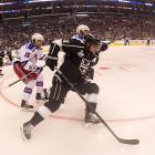 Anze Kopitar of the Los Angeles Kings fights for control of the puck.