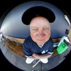 A fisheye portrait of Zimmer in the Yankees dugout during spring training.