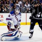 Lundqvist grabs the puck after it was deflected by Marian Gaborik.