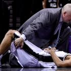 Tony Parker crumpled to the floor late in the fourth quarter after taking an elbow to the ribs by Mario Chalmers, who was charged with a flagrant 1 foul. Parker missed both ensuing free throws and Tim Duncan two more after that as the Spurs missed a chance to expand on an 87-85 lead.