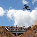 A soaring Ben Wallace of Great Britain competes in the BMX Dirt Finals at X-Games Austin.