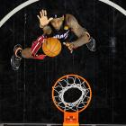LeBron James of the Miami Heat awaits a rebound in Game 2 of the NBA Finals.
