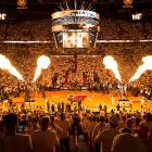 The crowd at the American Airlines Arena was amped up during the pregame activities but headed for the exits early.