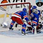 Had this puck gone in on a late third-period shot, the Rangers and Kings would have played their third overtime game of the series.